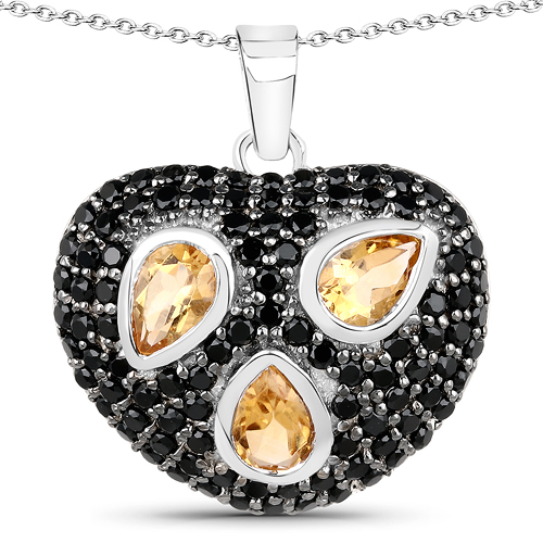 Citrine-2.94 Carat Genuine Citrine & Black Spinel .925 Sterling Silver Pendant