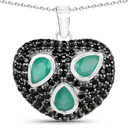 Emerald-3.10 Carat Genuine Emerald & Black Spinel .925 Sterling Silver Pendant