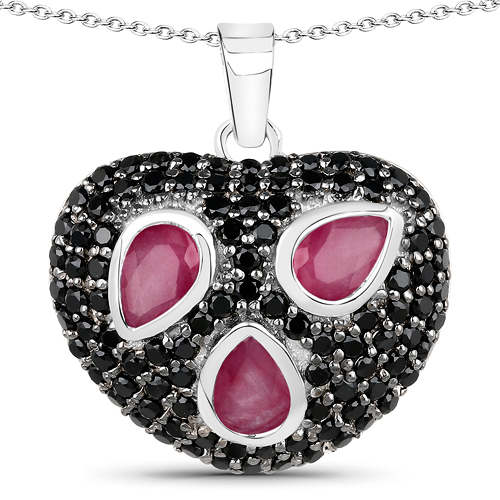 Ruby-3.65 Carat Genuine Ruby & Black Spinel .925 Sterling Silver Pendant
