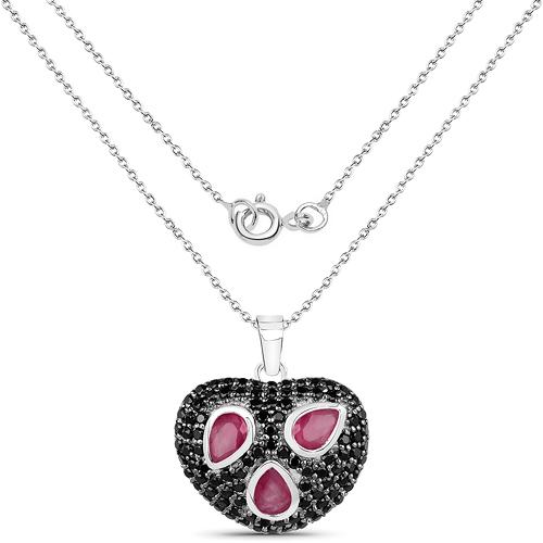 3.65 Carat Genuine Ruby & Black Spinel .925 Sterling Silver Pendant