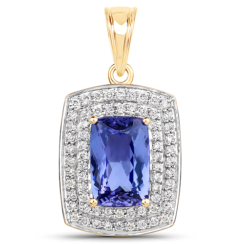 Tanzanite-4.88 Carat Genuine Tanzanite and White Diamond 14K Yellow Gold Pendant