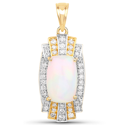 Opal-5.39 Carat Genuine Ethiopian Opal and White Diamond 14K Yellow Gold Pendant