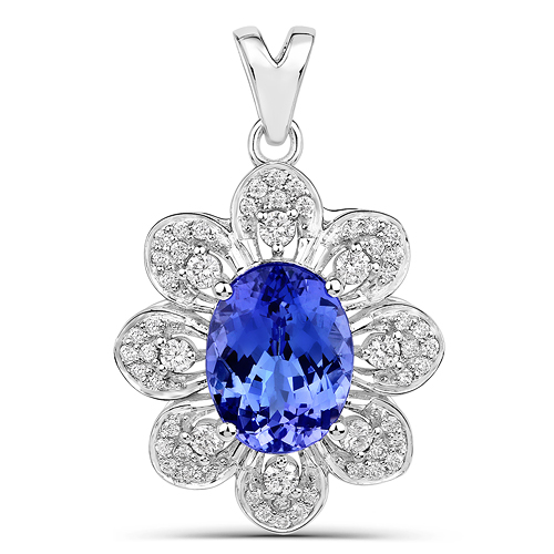 Tanzanite-4.35 Carat Genuine Tanzanite and White Diamond 14K White Gold Pendant