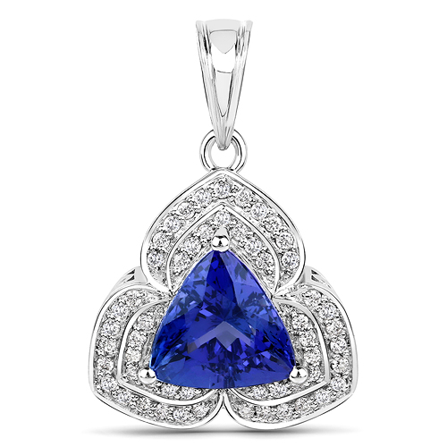 Tanzanite-4.79 Carat Genuine Tanzanite and White Diamond 14K White Gold Pendant