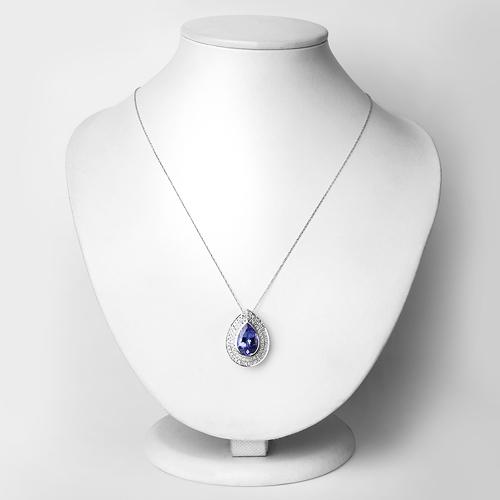 5.39 Carat Genuine Tanzanite and White Diamond 14K White Gold Pendant