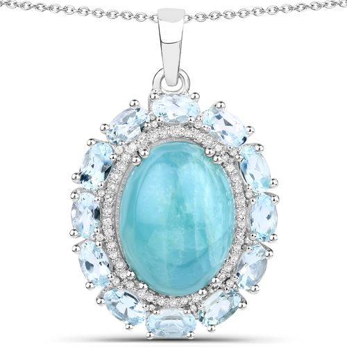 Aquamarine-14.44 Carat Genuine Aquamarine and White Diamond .925 Sterling Silver Pendant