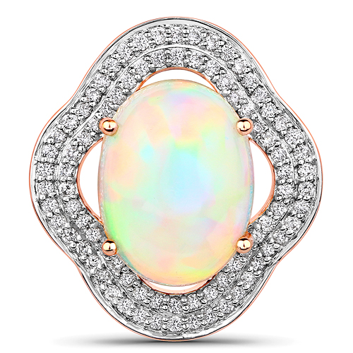 Opal-3.73 Carat Genuine Ethiopian Opal and White Diamond 14K Rose Gold Pendant