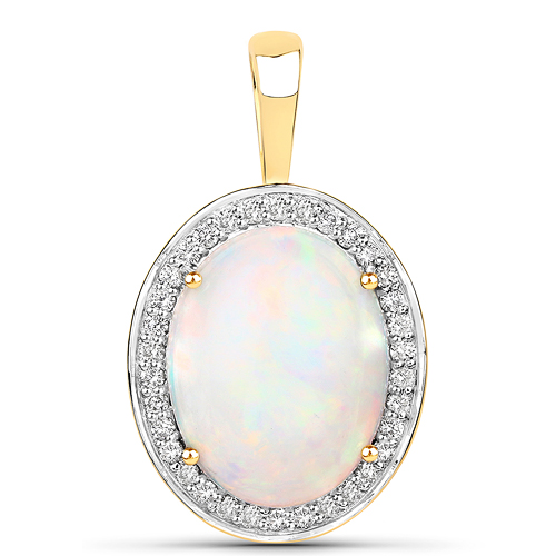 Opal-4.56 Carat Genuine Ethiopian Opal and White Diamond 14K Yellow Gold Pendant