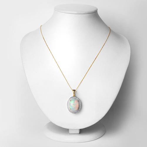6.72 Carat Genuine Ethiopian Opal and White Diamond 14K Yellow Gold Pendant