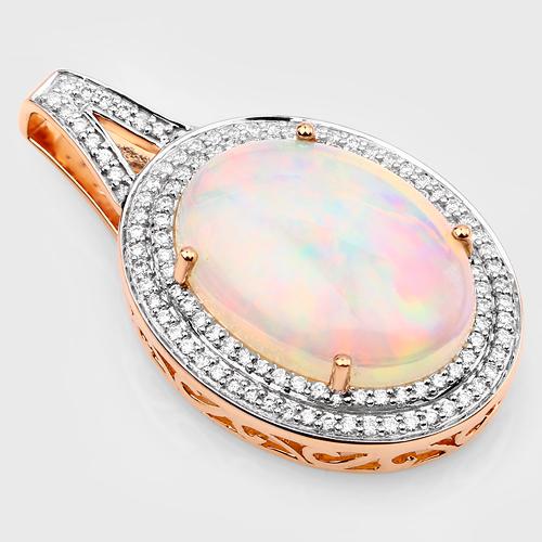 8.15 Carat Genuine Ethiopian Opal and White Diamond 14K Rose Gold Pendant