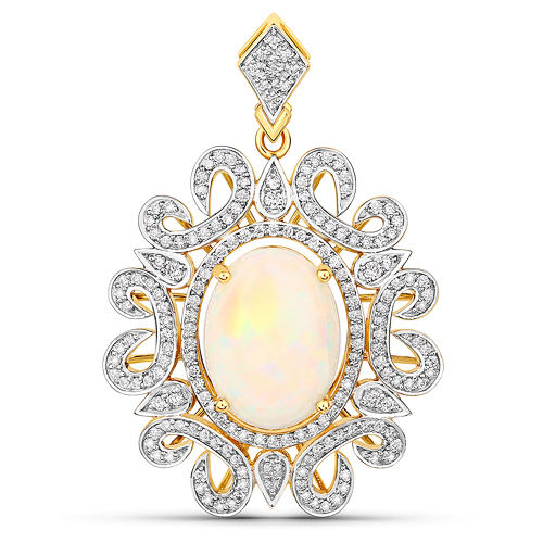 Opal-7.36 Carat Genuine Ethiopian Opal and White Diamond 14K Yellow Gold Pendant