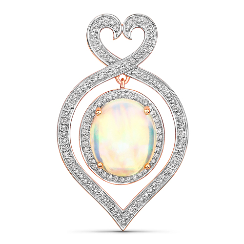 Opal-5.69 Carat Genuine Ethiopian Opal and White Diamond 14K Rose Gold Pendant