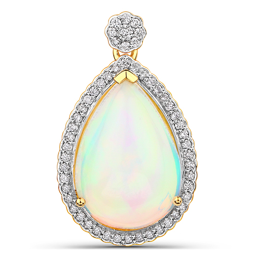 Opal-8.26 Carat Genuine Ethiopian Opal and White Diamond 14K Yellow Gold Pendant