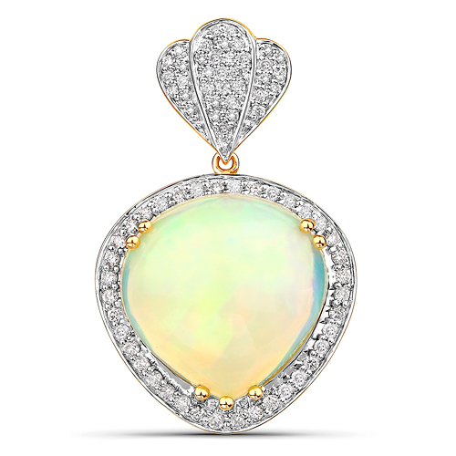 Opal-9.19 Carat Genuine Ethiopian Opal and White Diamond 14K Yellow Gold Pendant