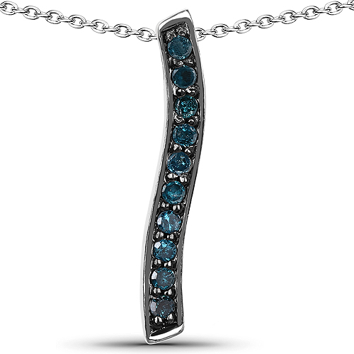 Diamond-0.30 Carat Genuine Blue Diamond .925 Sterling Silver Pendant