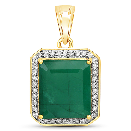 Emerald-8.38 Carat Genuine Brazilian Emerald and White Diamond 14K Yellow Gold Pendant