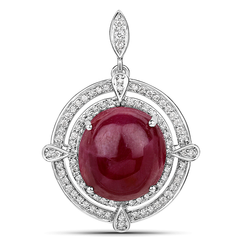 Ruby-20.39 Carat Genuine Ruby and White Diamond 14K White Gold Pendant