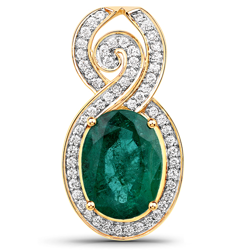 Emerald-5.71 Carat Genuine Brazilian Emerald and White Diamond 18K Yellow Gold Pendant