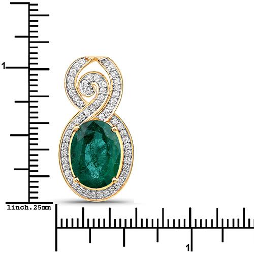 5.71 Carat Genuine Brazilian Emerald and White Diamond 18K Yellow Gold Pendant