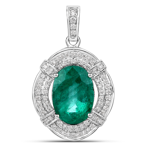 Emerald-7.61 Carat Genuine Zambian Emerald and White Diamond 18K White Gold Pendant