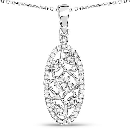 0.22 Carat Genuine White Diamond .925 Sterling Silver Pendant