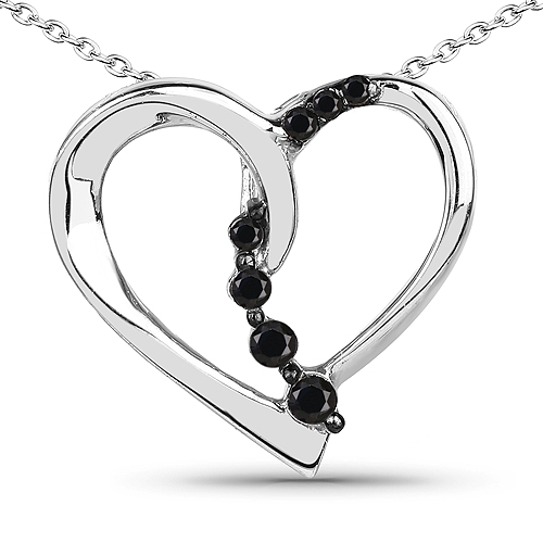 Diamond-0.10 Carat Genuine Black Diamond .925 Sterling Silver Pendant