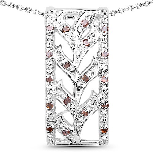 Diamond-0.10 Carat Genuine Red Diamond .925 Sterling Silver Pendant