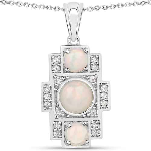 1.19 Carat Genuine Ethiopian Opal and White Diamond .925 Sterling Silver Pendant