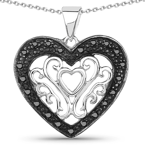 Diamond-0.22 Carat Genuine Black Diamond .925 Sterling Silver Pendant