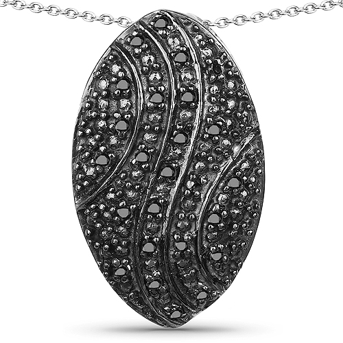 Diamond-0.23 Carat Genuine Black Diamond .925 Sterling Silver Pendant