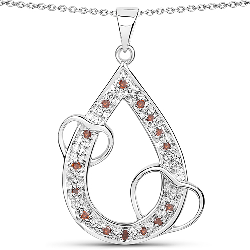 Diamond-0.18 Carat Genuine Red Diamond .925 Sterling Silver Pendant