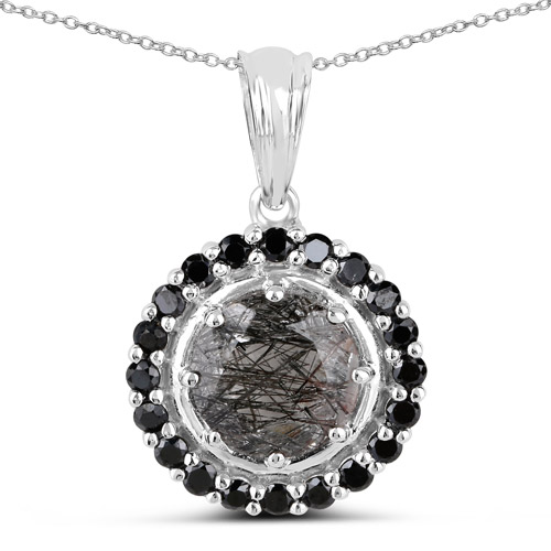 Pendants-3.70 Carat Genuine Black Rutile and Black Spinel .925 Sterling Silver Pendant