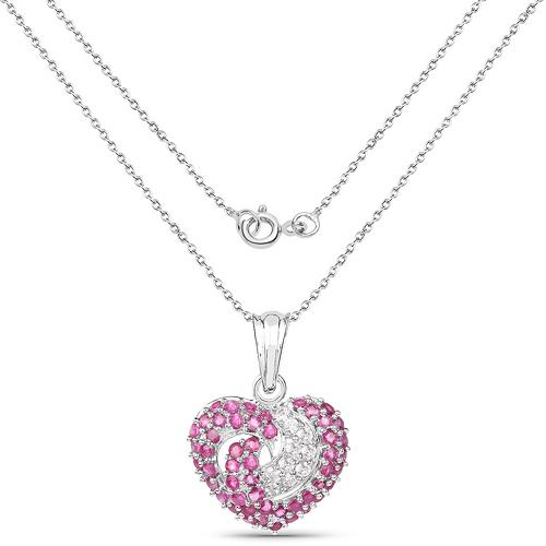 2.75 Carat Genuine Ruby & White Sapphire .925 Sterling Silver Pendant