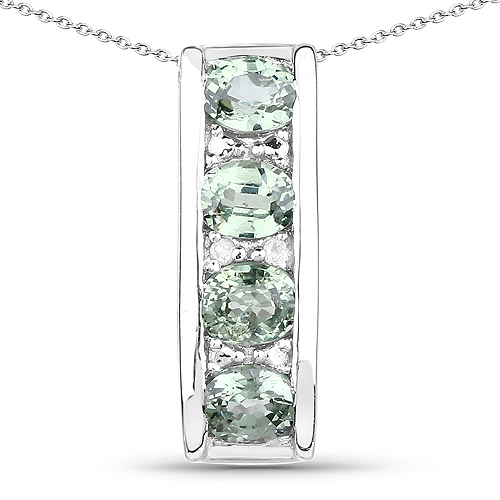 Sapphire-0.90 Carat Genuine Green Sapphire and White Diamond .925 Sterling Silver Pendant