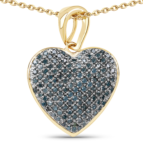 Diamond-14K Yellow Gold Plated 0.68 Carat Genuine Blue Diamond .925 Sterling Silver Heart Shape Pendant