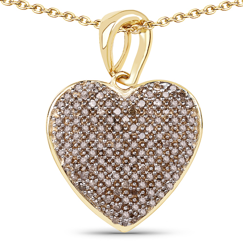 Diamond-14K Yellow Gold Plated 0.68 Carat Genuine Champagne Diamond .925 Sterling Silver Heart Shape Pendant