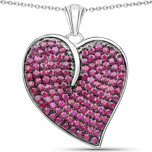 Ruby-4.98 Carat Genuine Ruby .925 Sterling Silver Pendant