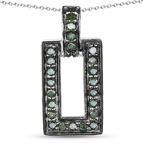 Diamond-0.36 Carat Genuine Green Diamond .925 Sterling Silver Pendant