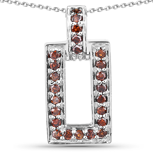 Diamond-0.36 Carat Genuine Red Diamond .925 Sterling Silver Pendant