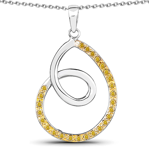 Diamond-0.31 Carat Genuine Yellow Diamond .925 Sterling Silver Pendant
