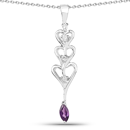 Amethyst-0.32 Carat Genuine Amethyst and White Topaz .925 Sterling Silver Pendant