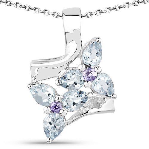 Aquamarine-1.02 Carat Genuine Aquamarine & Tanzanite .925 Sterling Silver Pendant