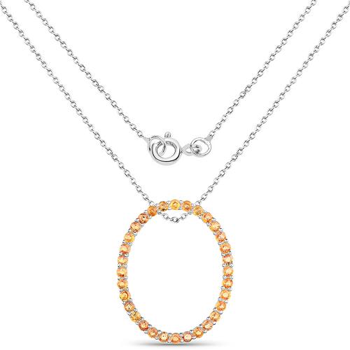 2.88 Carat Genuine Orange Sapphire .925 Sterling Silver Pendant