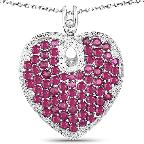 Ruby-8.03 Carat Genuine Ruby .925 Sterling Silver Pendant