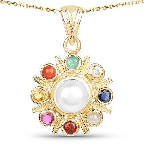 Pearl-18K Yellow Gold Plated 2.86 Carat Genuine Multi Stone .925 Sterling Silver Pendant
