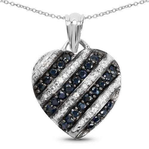 Sapphire-1.55 Carat Genuine Blue Sapphire and White Topaz .925 Sterling Silver Pendant