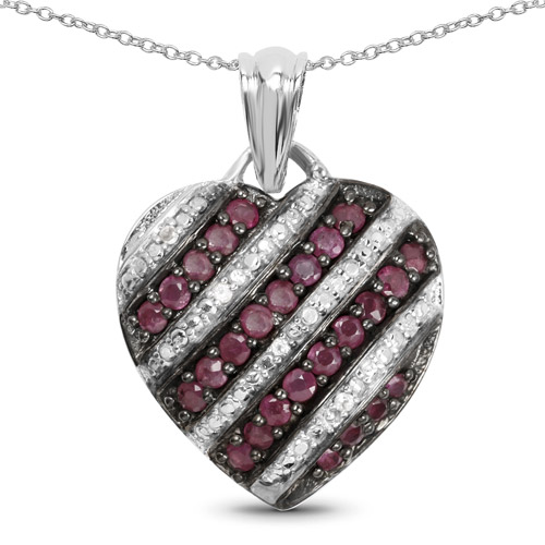 Ruby-1.56 Carat Genuine Ruby and White Topaz .925 Sterling Silver Pendant