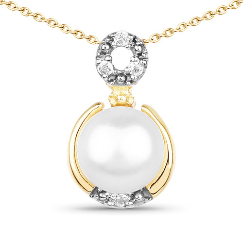 Pearl-14K Yellow Gold Plated 2.03 Carat Genuine Pearl and White Cubic Zirconia .925 Sterling Silver Pendant