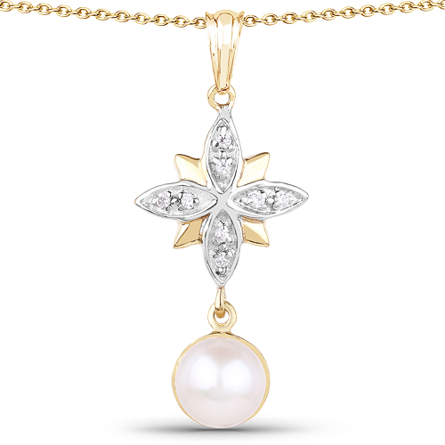 Pearl-14K Yellow Gold Plated 2.44 Carat Genuine Pearl and White Cubic Zirconia .925 Sterling Silver Pendant