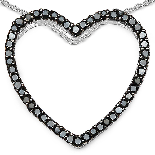 Diamond-0.54 Carat Genuine Black Diamond Sterling Silver Pendant
